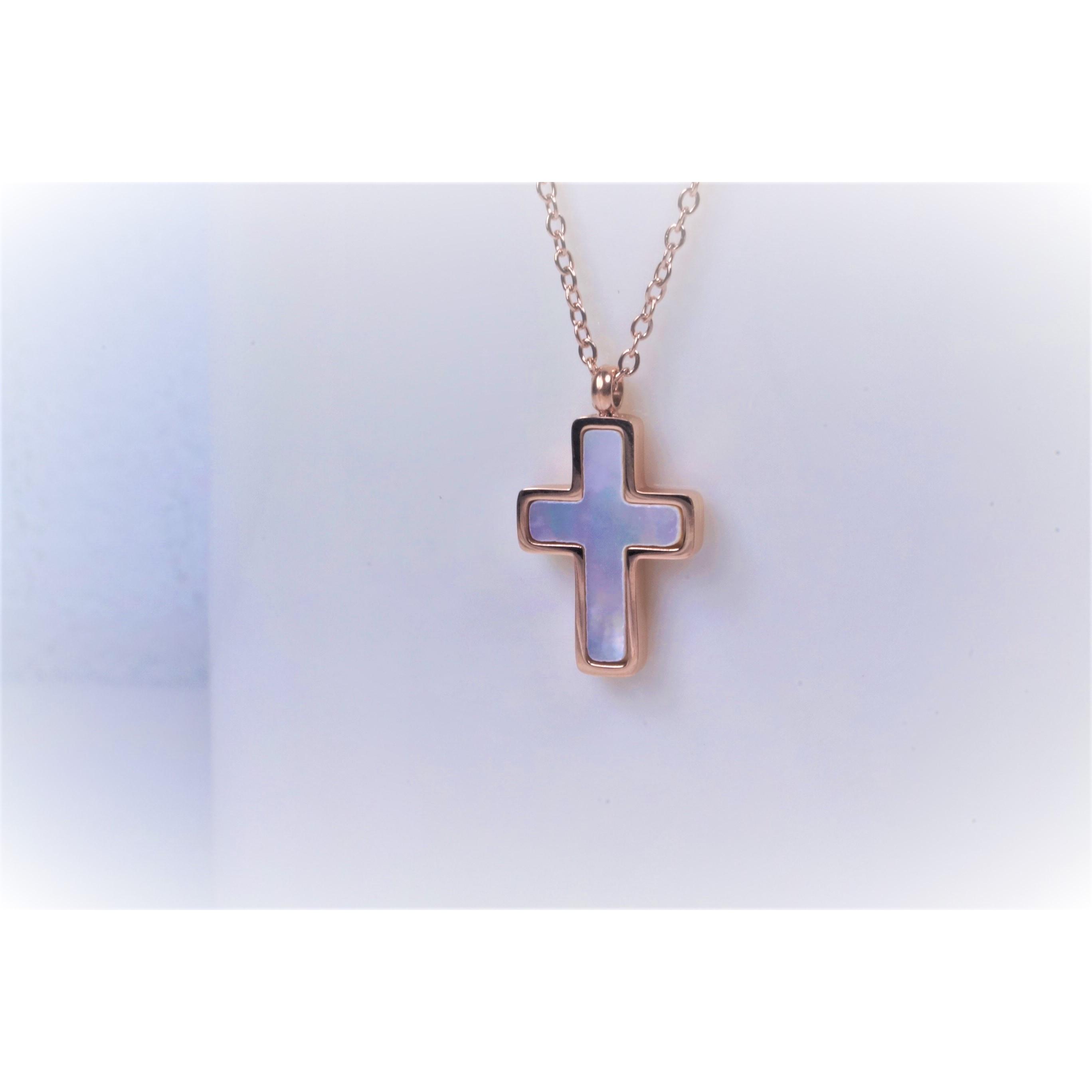 項鍊-十字架(貝殼) - 玫瑰金