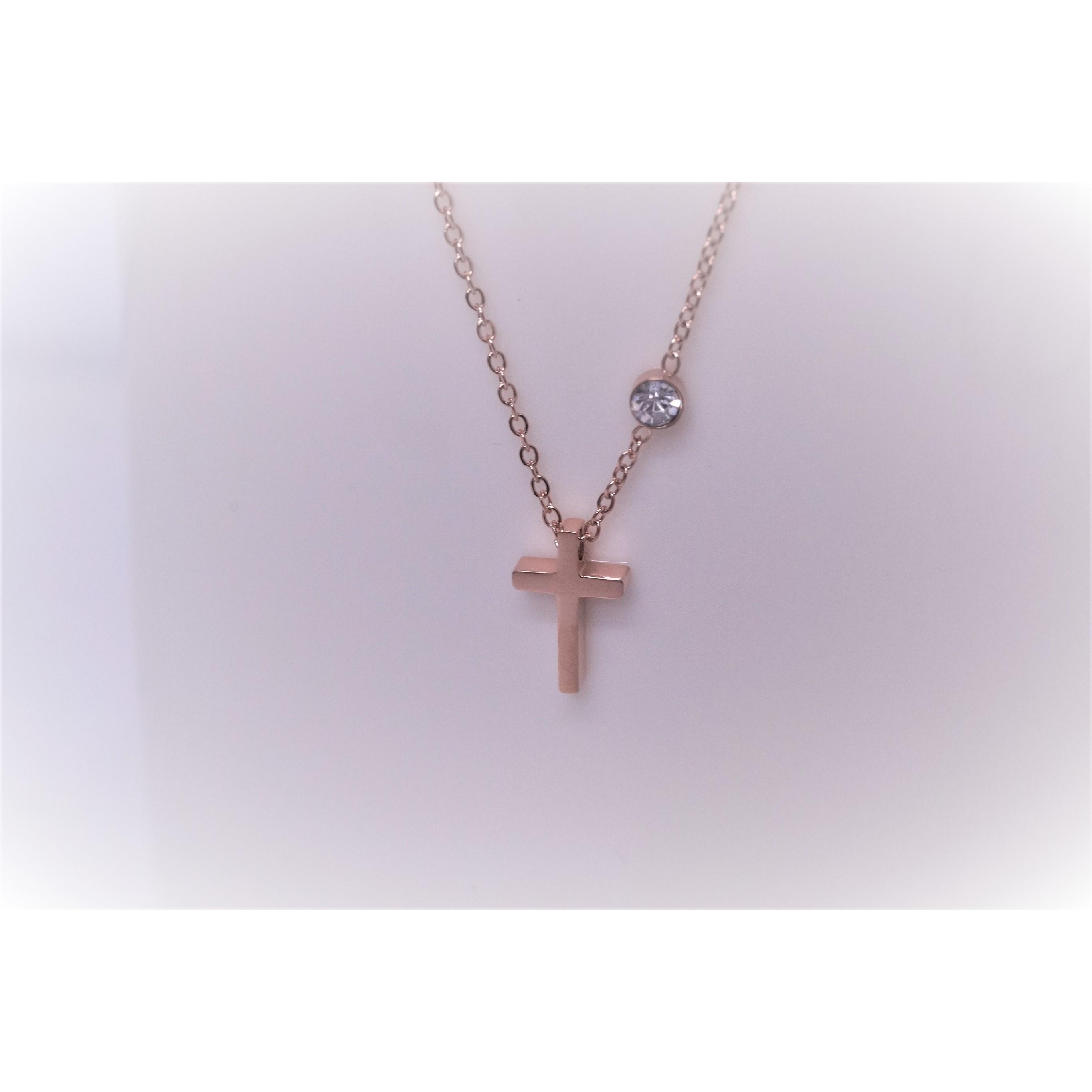項鍊-十字架(玫瑰金)