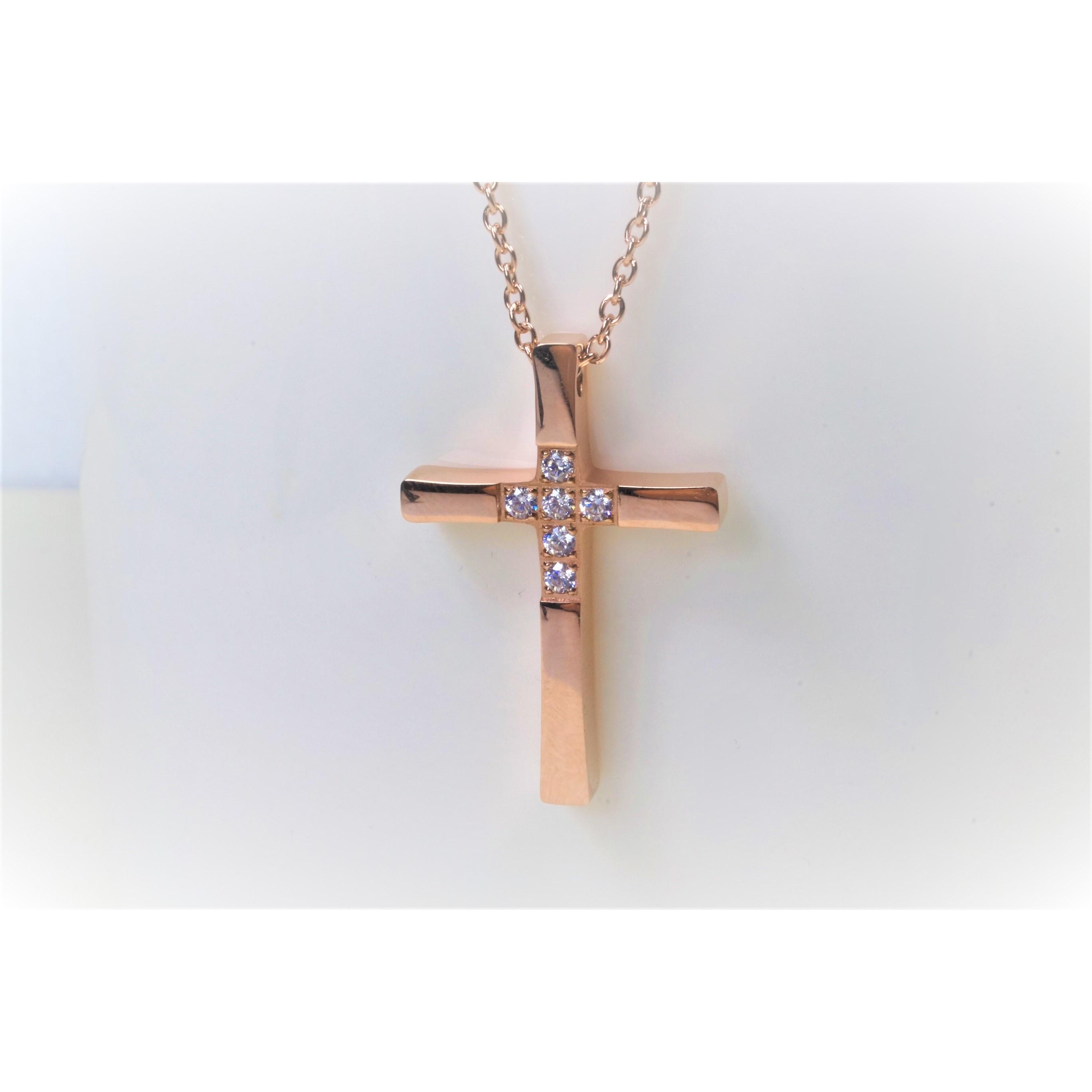 項鍊-十字架(玫瑰金) - 中