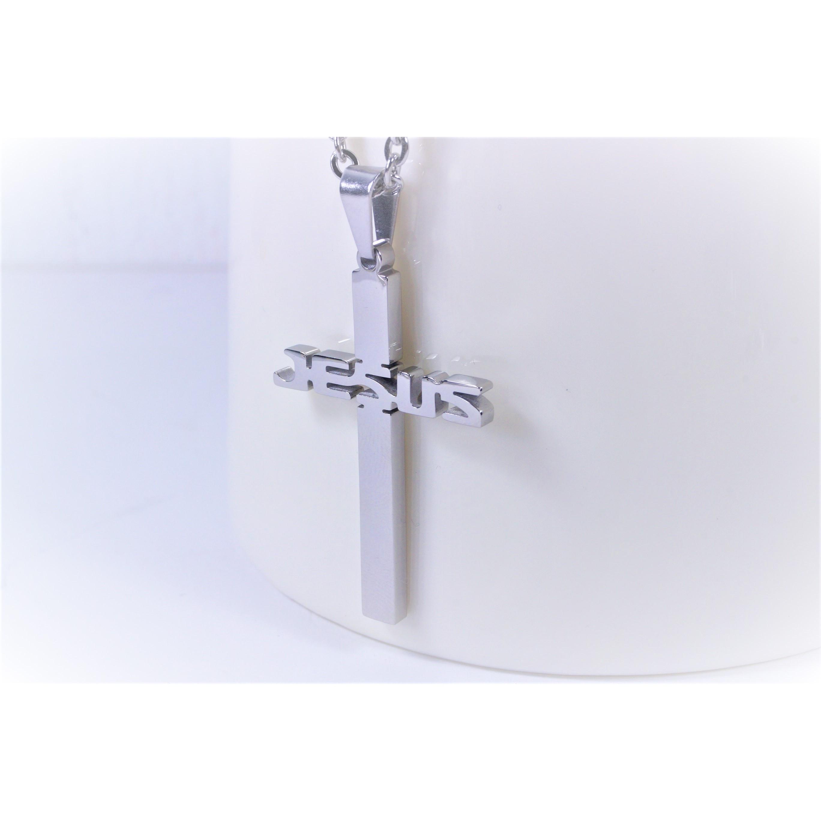 項鍊-十字JESUS - 白
