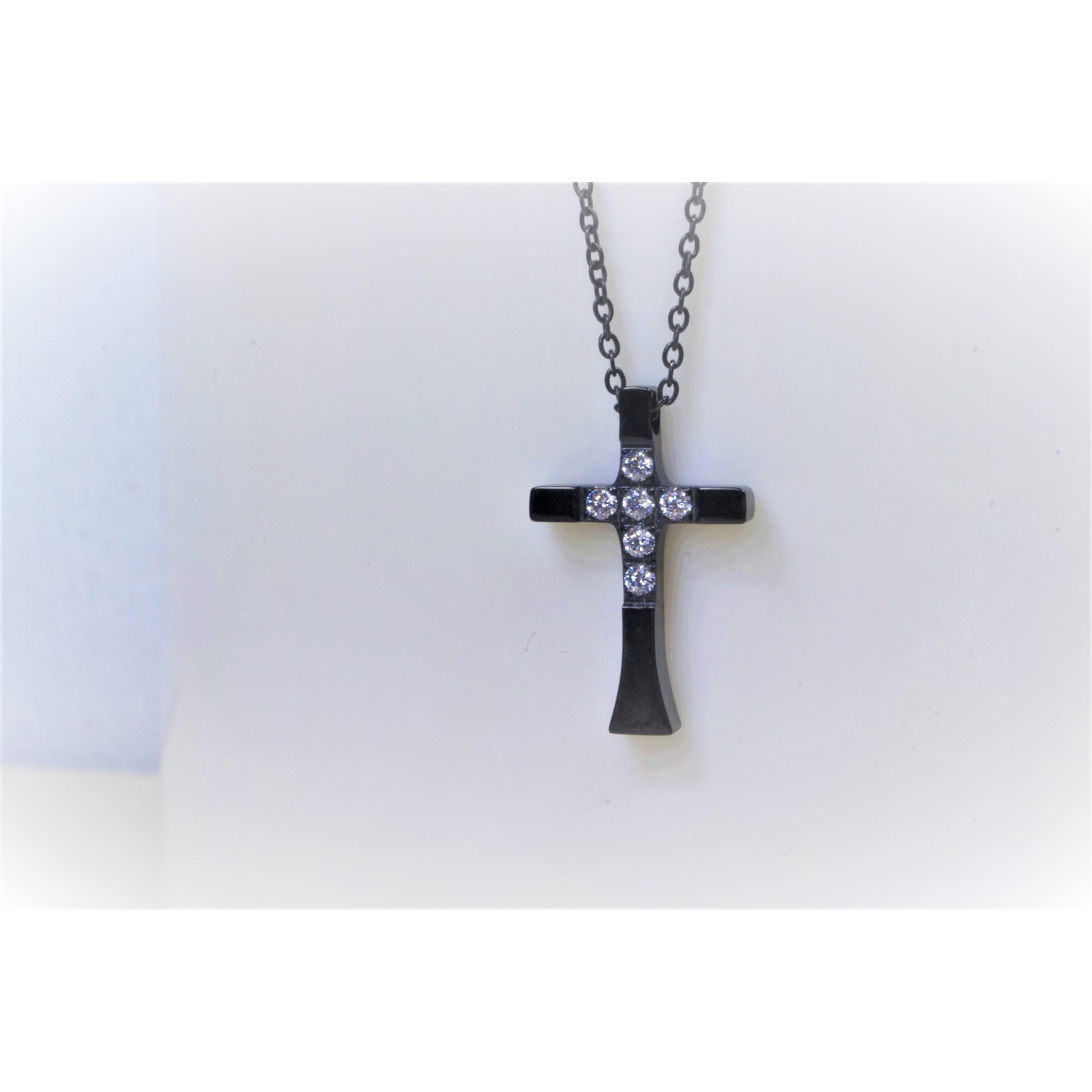 項鍊-十字架(黑) - 小