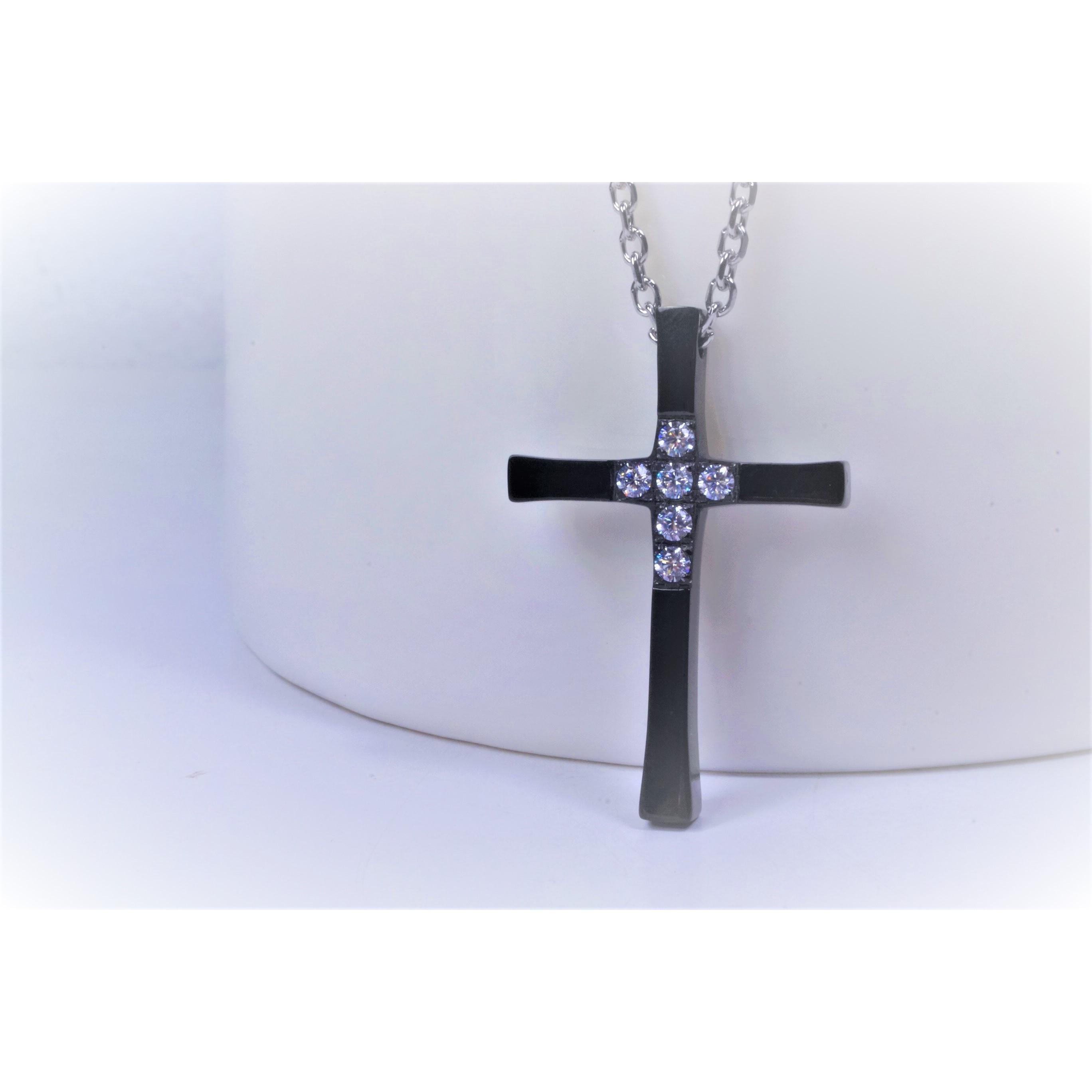 項鍊-十字架(黑) - 大