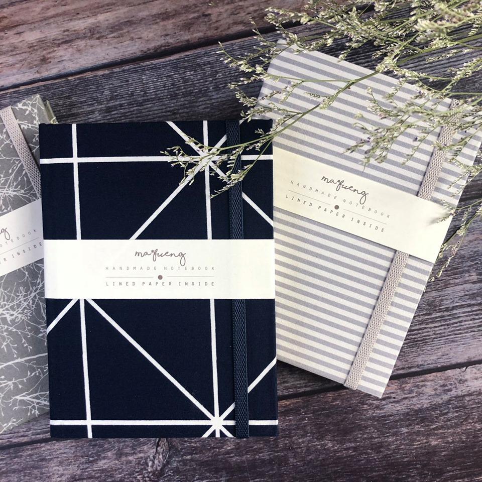 泰國布製封面筆記本M - 藍色格紋Mizi Grid