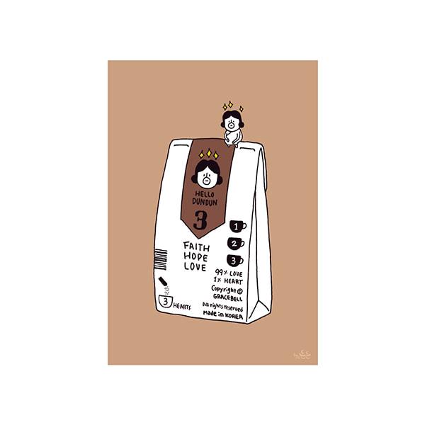 插畫明信片(33咖啡登登)哈囉登登系列
