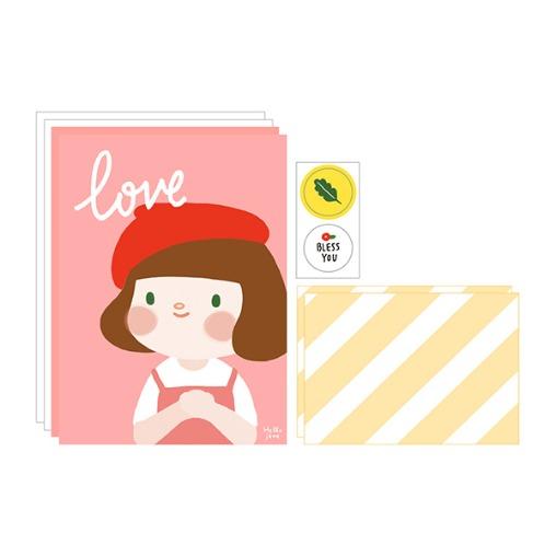 插畫風信封信紙組(01愛)哈囉珍系列