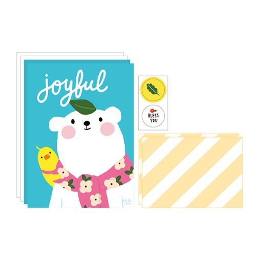 插畫風信封信紙組(03快樂)哈囉珍系列