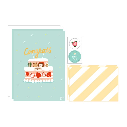 插畫風信封信紙組(08恭賀)哈囉珍系列