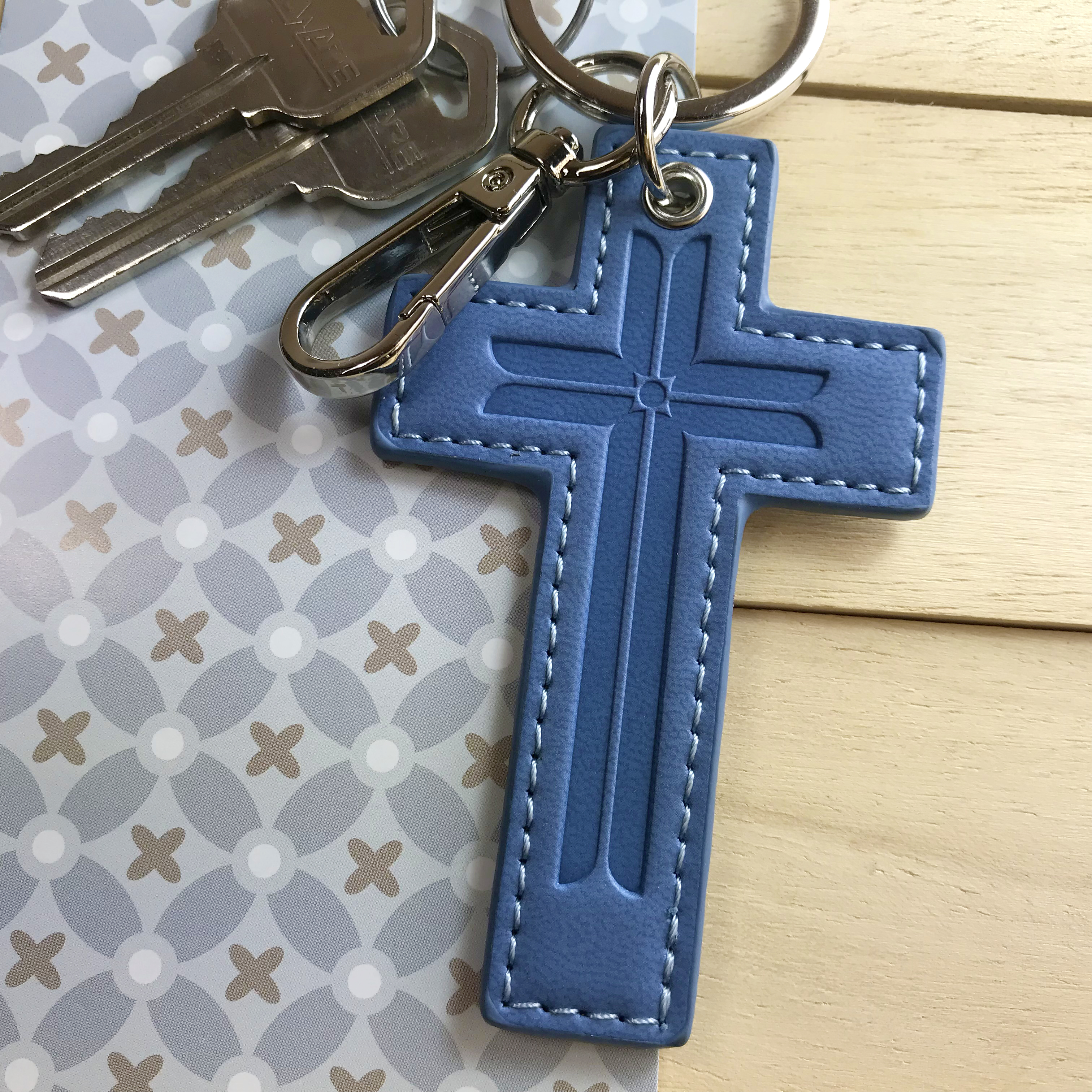 十架鑰匙圈 - 知性藍