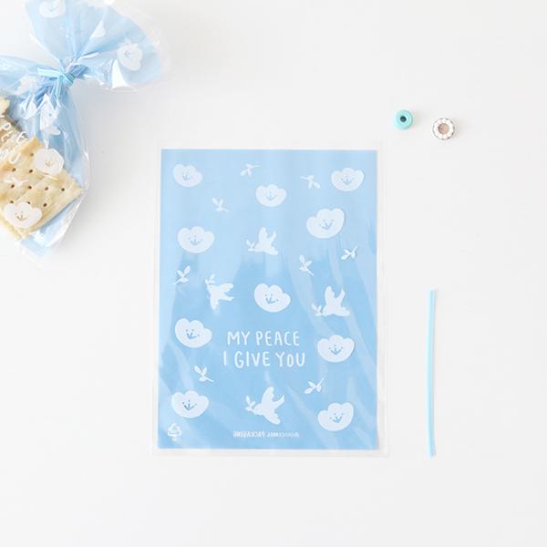 03.Blue dove-彩繪包裝袋(平口)10入