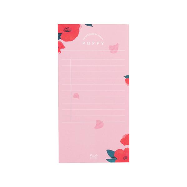 Flower 花漾系列 祕密花園便條紙(附夾鏈袋) (01.罌粟)
