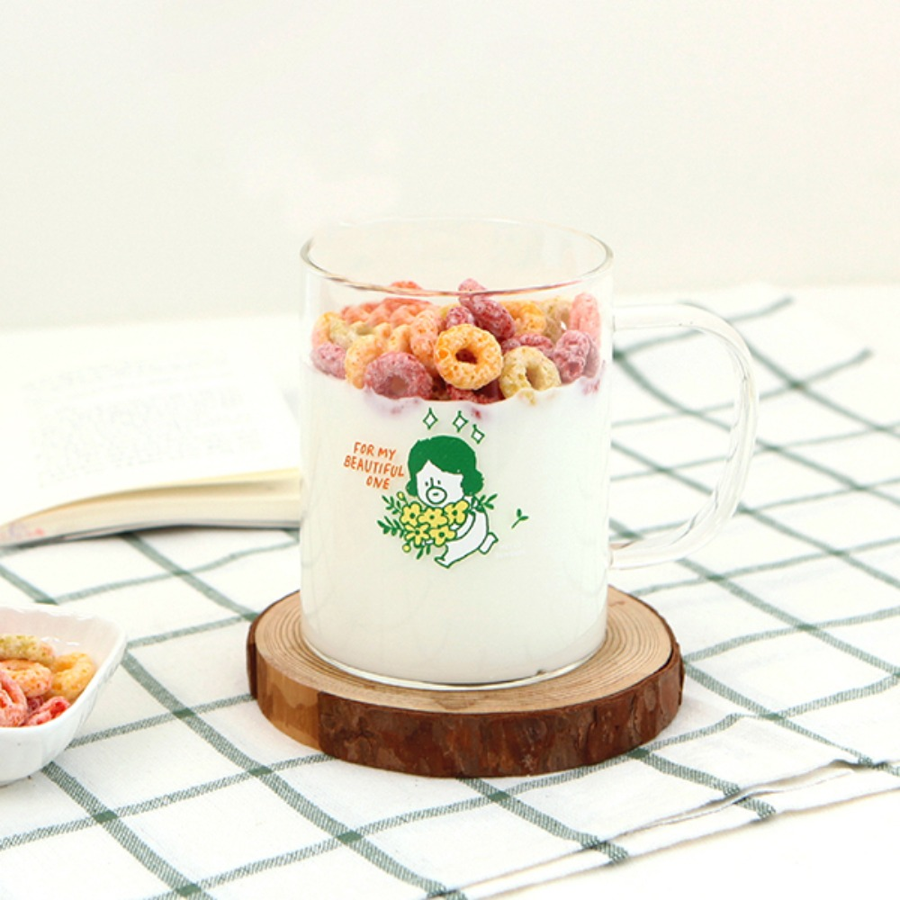 Gracebell系列 馬克玻璃杯(400ml) 03.Flower DunDun