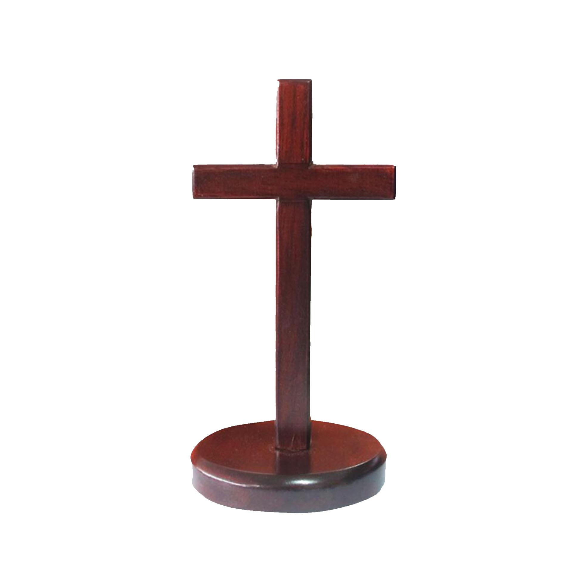 木雕十架10公分-圓立座