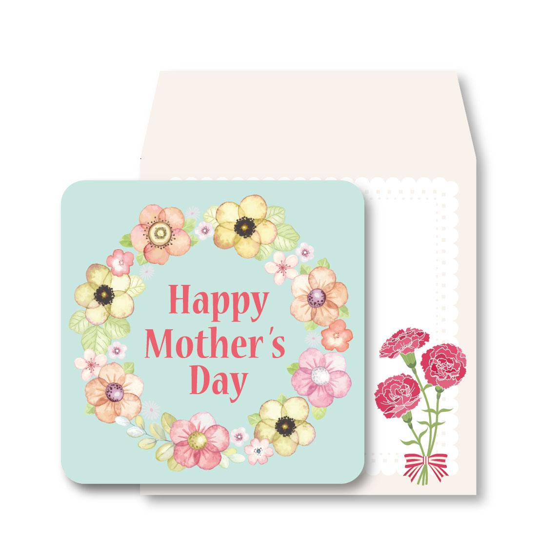 粉綠花卉/母親節小卡