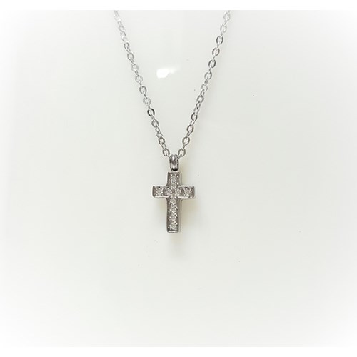 不鏽鋼袖珍十字架項鍊-銀